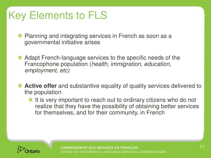 Key Elements to FLS