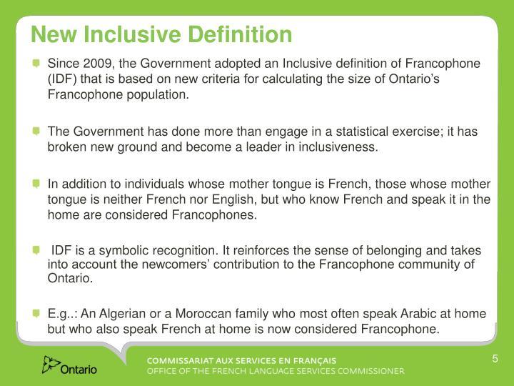 New Inclusive Definition