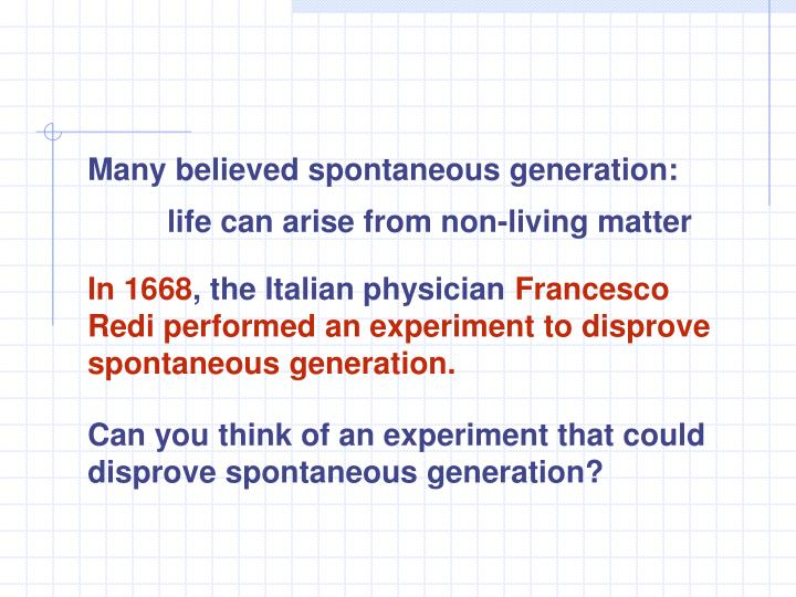Many believed spontaneous generation: