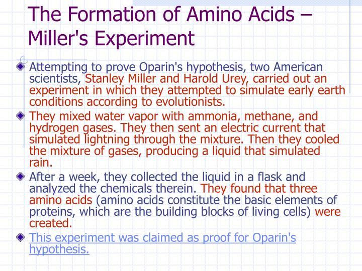 The Formation of Amino Acids – Miller's Experiment