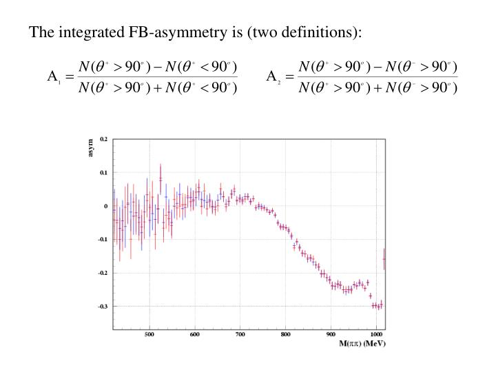 The integrated FB-asymmetry is (two definitions):