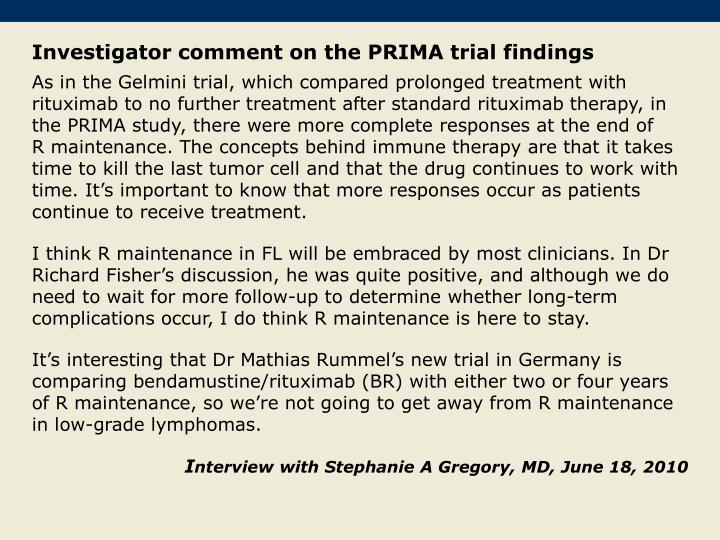 Investigator comment on the PRIMA trial findings