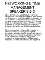 networking time management speaker s bio