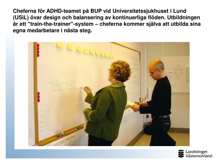 """Cheferna för ADHD-teamet på BUP vid Universitetssjukhuset i Lund (USiL) övar design och balansering av kontinuerliga flöden. Utbildningen är ett """"train-the-trainer""""-system – cheferna kommer själva att utbilda sina egna medarbetare i nästa steg."""
