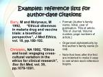 examples reference lists for author date citations