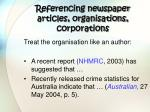 referencing newspaper articles organisations corporations
