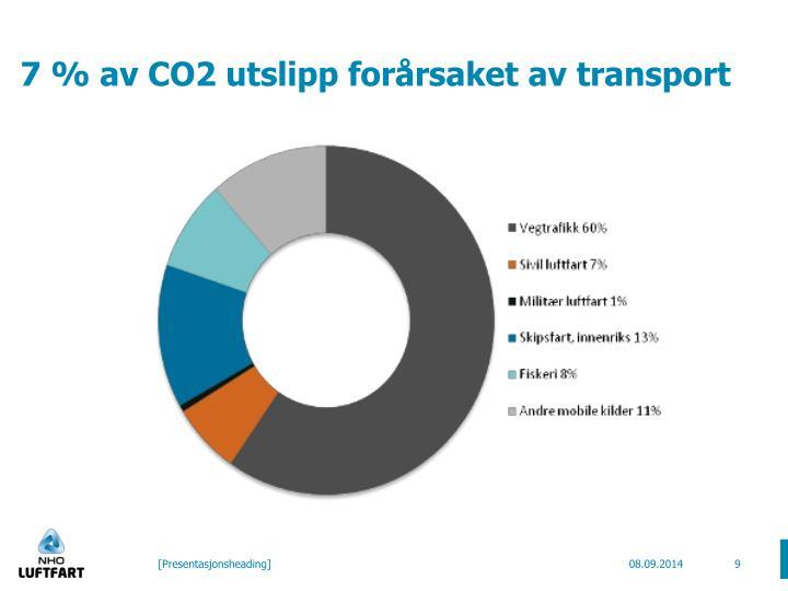 7 % av CO2 utslipp forårsaket av transport