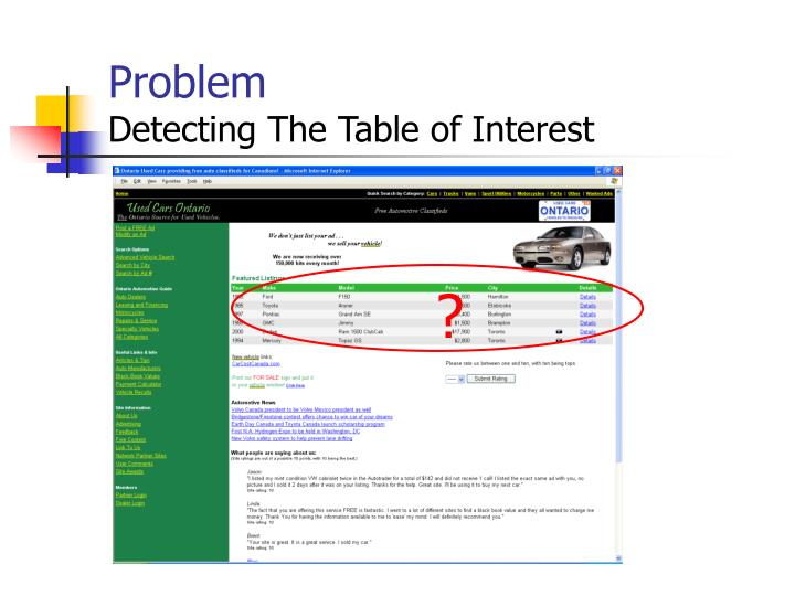 Problem detecting the table of interest