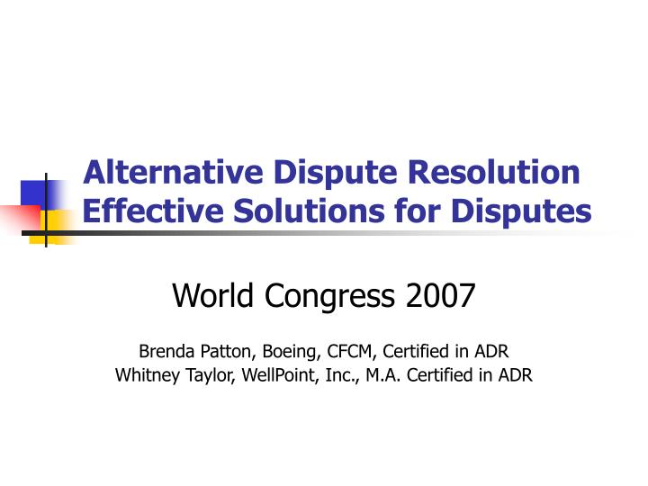 alternative dispute resolution effective solutions for disputes n.