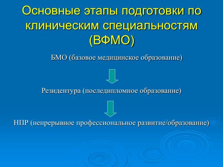 Основные этапы подготовки по клиническим специальностям (ВФМО)