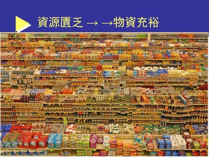 資源匱乏 → →物資充裕