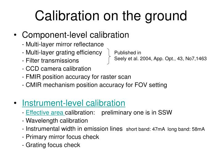 Calibration on the ground