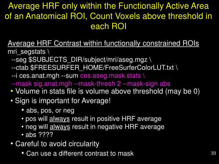 Average HRF only within the Functionally Active Area of an Anatomical ROI, Count Voxels above threshold in each ROI