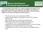master data elements shorthand code overview