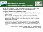 master data elements wbs elements and funded programs