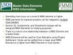 master data elements wbs information