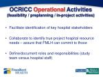 ocricc operational activities feasibility preplanning in project activities