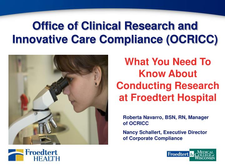 office of clinical research and innovative care compliance ocricc n.