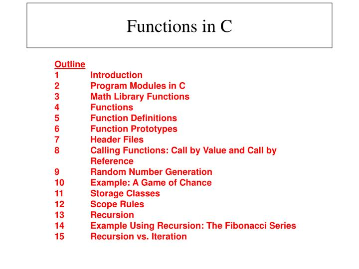 PPT - Functions in C PowerPoint Presentation - ID:4109884