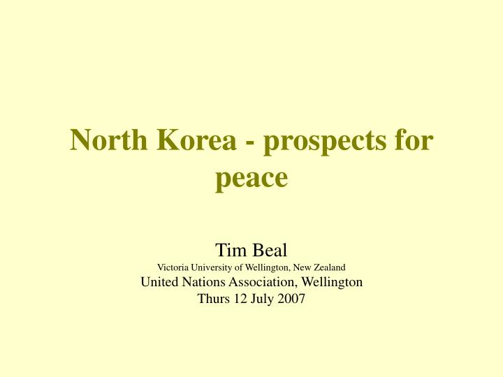 north korea prospects for peace n.