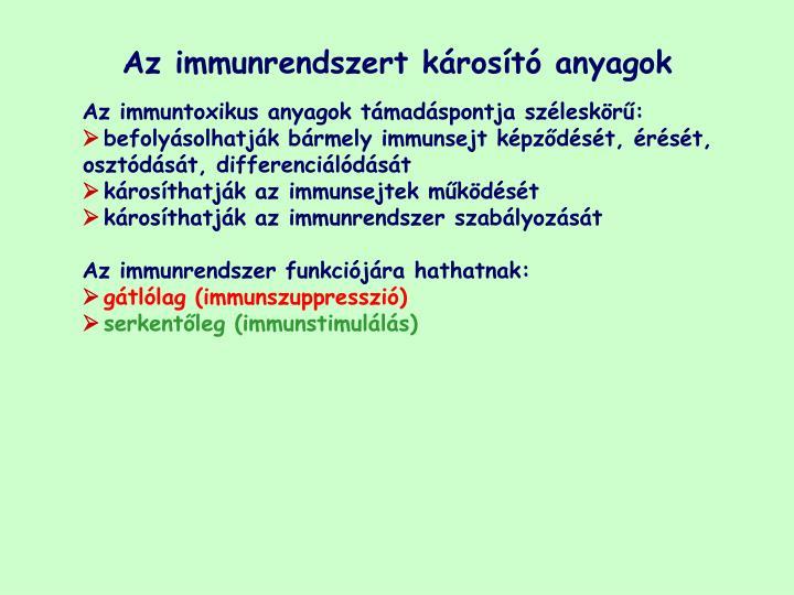 Az immunrendszert károsító anyagok