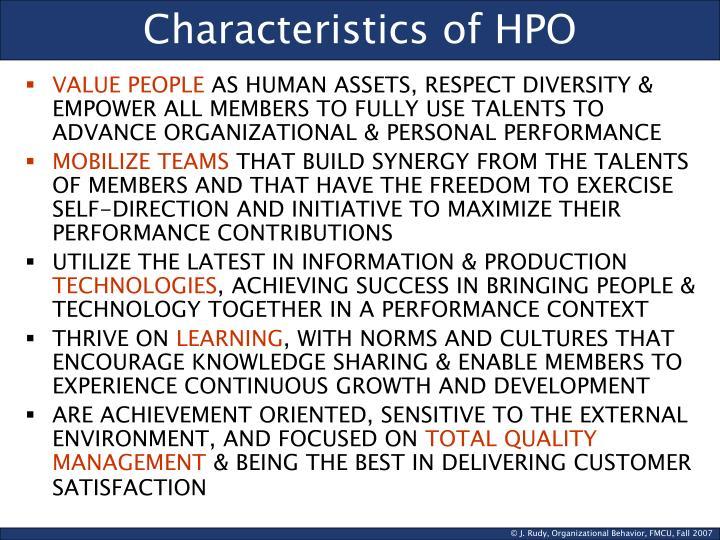 Characteristics of HPO