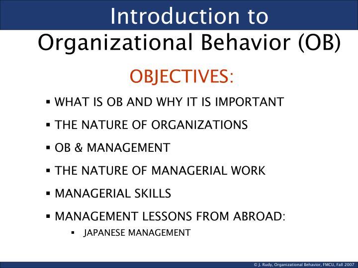Introduction to organizational behavior ob