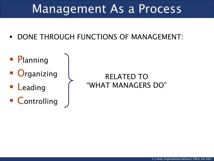 Management As a Process