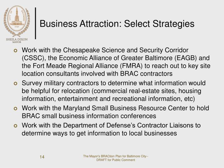 Business Attraction: Select Strategies