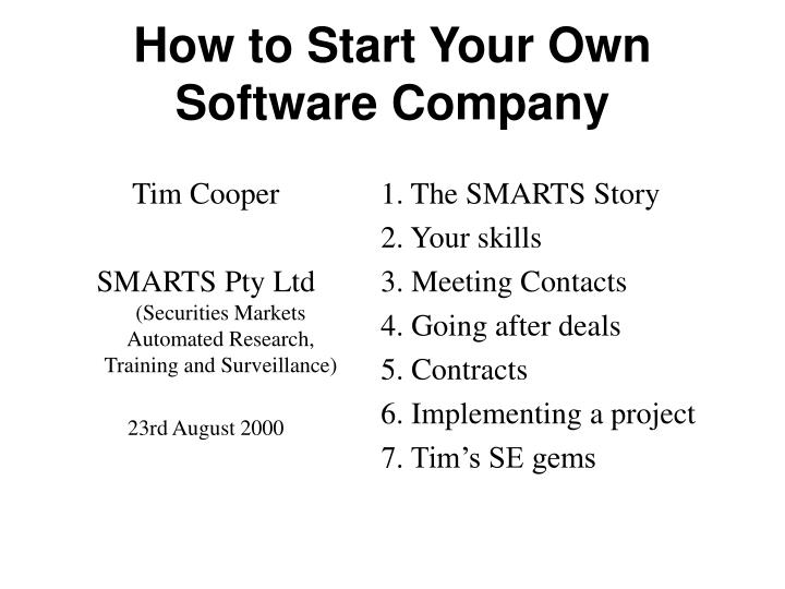 how to start your own software company n.