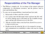 responsibilities of the file manager