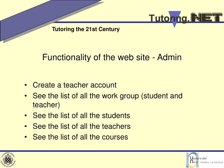 Functionality of the web site - Admin