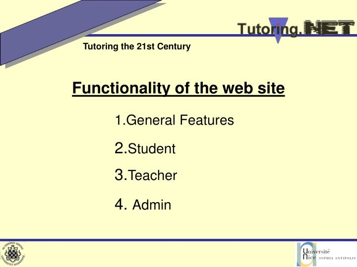 Functionality of the web site