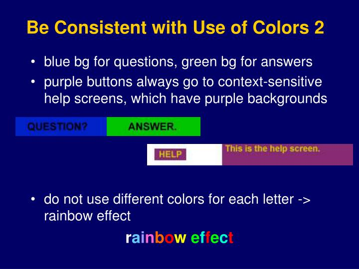 Be Consistent with Use of Colors