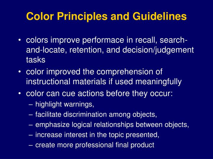 Color Principles and Guidelines