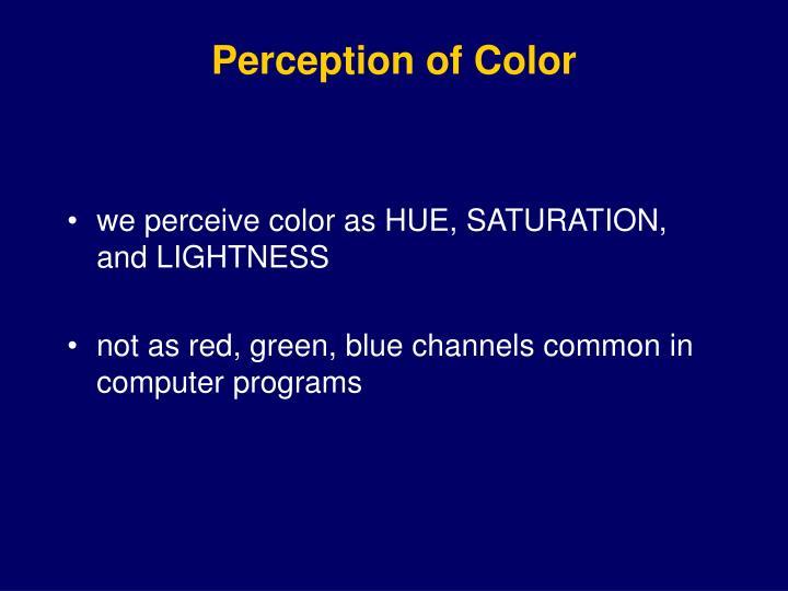 Perception of Color