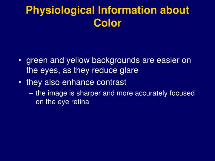 Physiological Information about Color