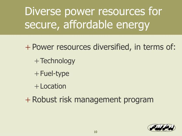 Diverse power resources for secure, affordable energy