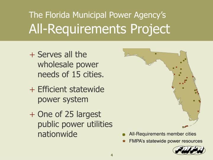 The florida municipal power agency s all requirements project