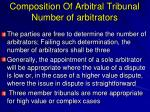 composition of arbitral tribunal number of arbitrators
