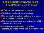 local labour laws and risks local work force in libya