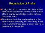 repatriation of profits
