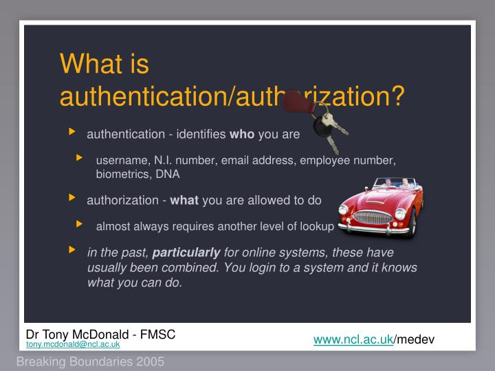 What is authentication/authorization?