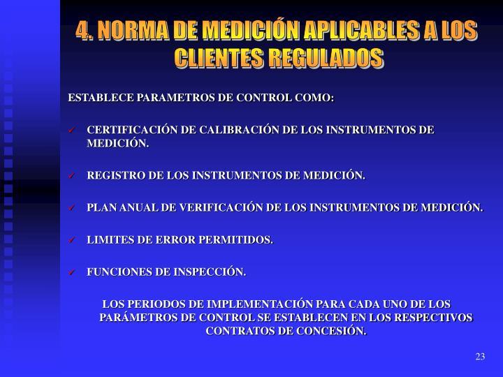 4. NORMA DE MEDICIÓN APLICABLES A LOS