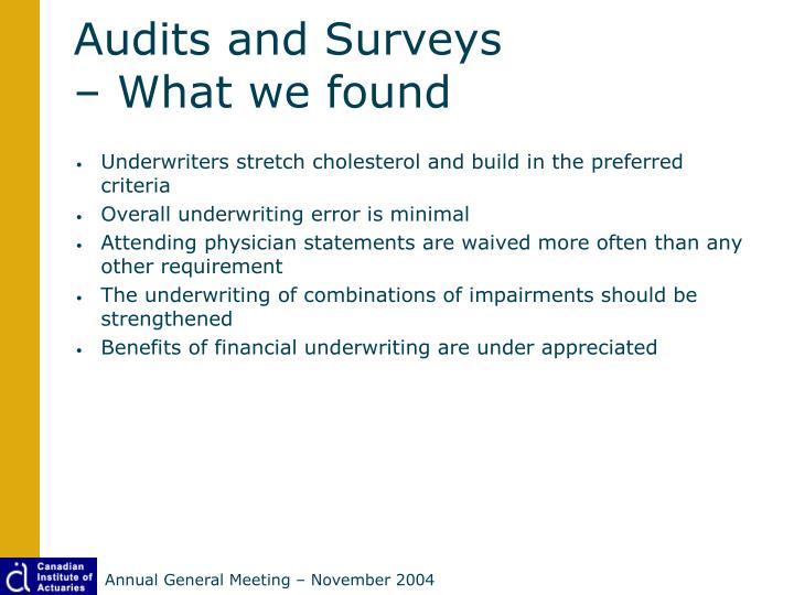 Audits and Surveys