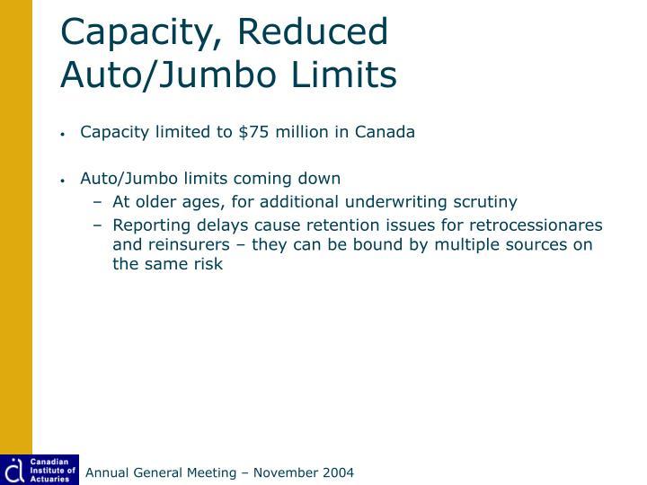 Capacity, Reduced Auto/Jumbo Limits