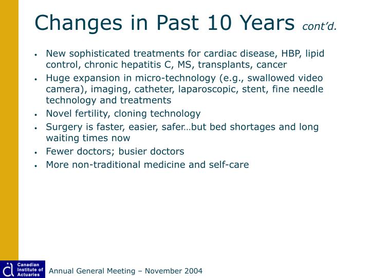 Changes in Past 10 Years