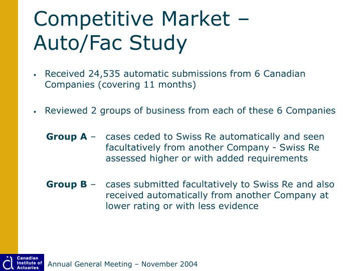 Competitive Market – Auto/Fac Study