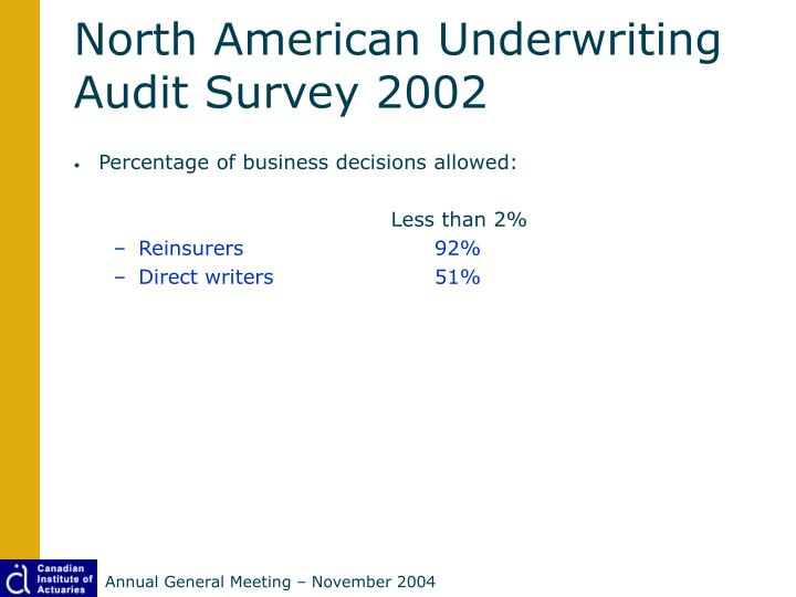 North American Underwriting Audit Survey 2002