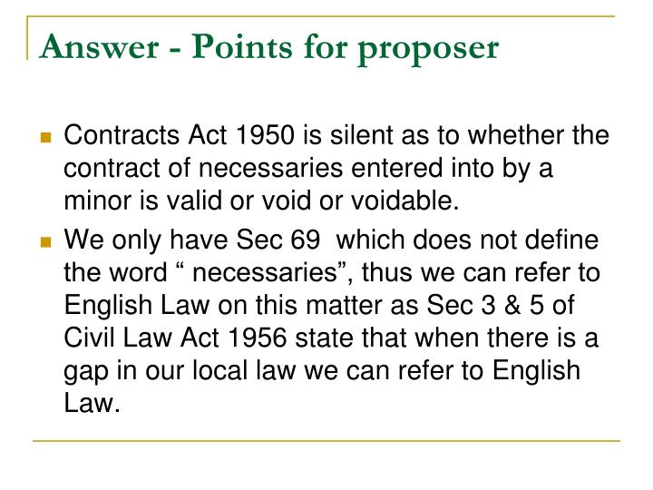 Answer points for proposer